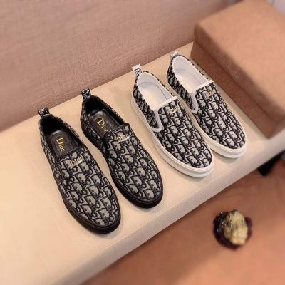 2021 Dior Best Selling Oblique Galaxy Pattern Yellow Gold Logo Signature Mens Slip-On Fabric Shoes Black/White