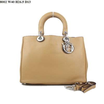 """Street Style Dior """"Diorissimo"""" Apricot Oversized Smooth Leather Handbag Silver D.I.O.R Charm Online"""