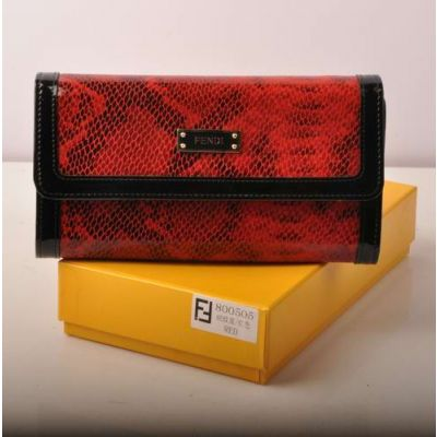 Fendi High End Red Snake Veins Leather & Black Patent Leather Multifunctional Long Flap Evening Bag