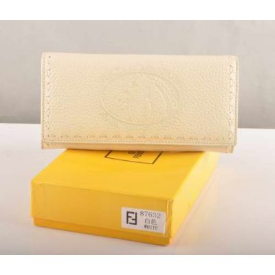 Fendi Two Compartments Horse Pattern Ladies White Calfskin Leather Long Flap Wallet For Sale