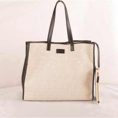 Women's Top Sale Fendi White-Black Leather Perforated Shopping Tote Bag With Zipper Purse Replica