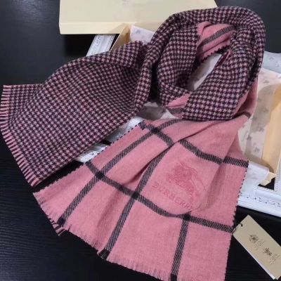 Burberry Pink Checked Cashmere Scarves Tassels Soft Comfortable Sweet Style Girls Valentine Gift Malaysia Price
