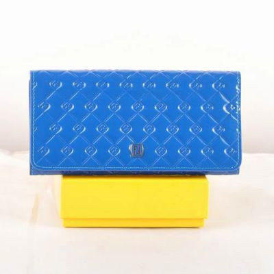 Fashion Fendi Double F Buckle Zipper Coin Purse Female Blue Patent Leather Long Cannage Quilted Wallet