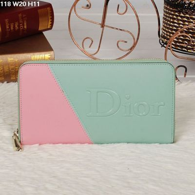 Fashion Dior 2 Billfold Compartments Zipper Wallet Light Green-pink For Sale