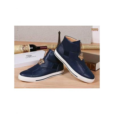 Trendy Versace Palazzo Rose Gold Plated Medusa Plaque Mens High-Top Slip-on Calfskin Leather Loafers Blue/Black