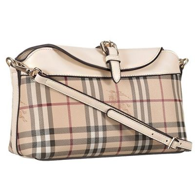 Burberry House Check White Leather Small Flip-over Flap Ladies Crossbody Bag