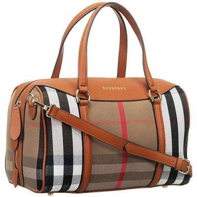 High Quality Burberry Haymarket Brown Leather Strap Unisex House Check Bowling Bag