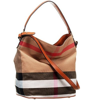 Fake Burberry Ashby Brown Leather Strap Ladies Canvas Check Hobo Bag