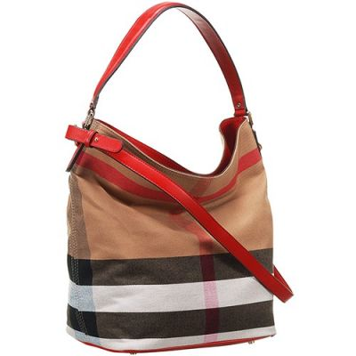 Burberry Ashby Canvas Check Female Red Leather Strap Shoulder Bag Spring