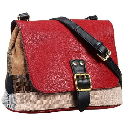 Burberry Canvas Check Red Grained Leather Bag Black Strap Low Price