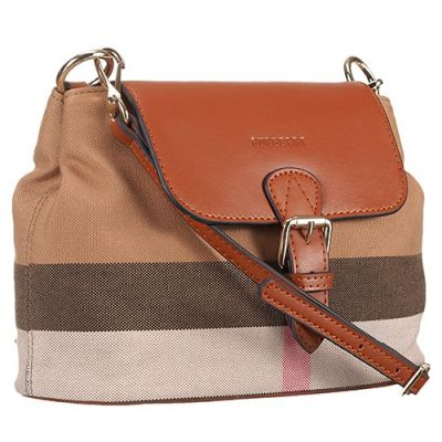 Cheapest Burberry Canvas Check Tan Leather Strap & Cover Womens Crossbody Bag