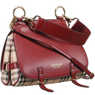 Hot Selling Burberry Bridle Haymarket Check Red Leather Female Shoulder Bag