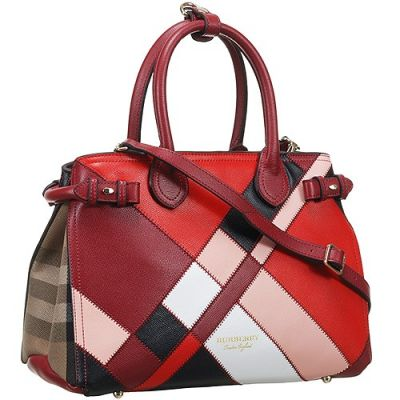 Burberry Banner Womens Patchwork Color Leather Crossbody Bag Dark Red Handle
