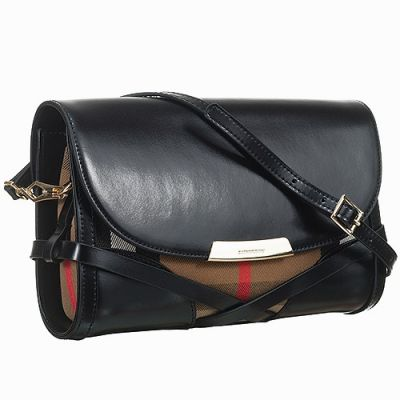 Burberry Bridle House Check Black Leather Hot Selling Crossbody Bag Replica
