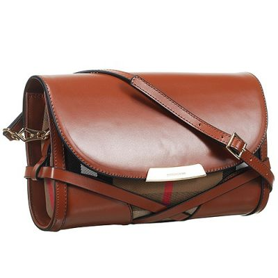 Burberry Brown Leather Quality Ladies Bridle House Check Crossbody Bag