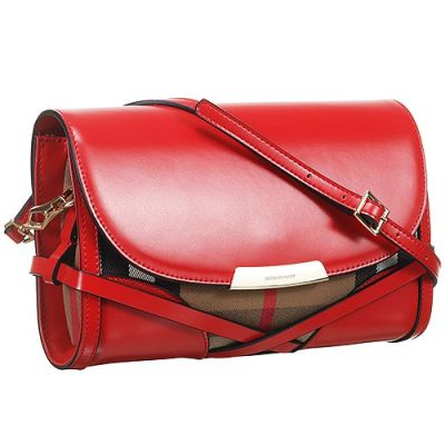 Women's Burberry Bridle House Check Red Leather Crossbody Bag Summer