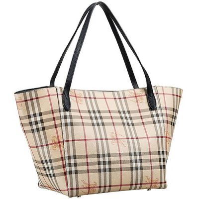 Cheapest Burberry Haymarket Check Ladies Large Tote Black Leather Handle