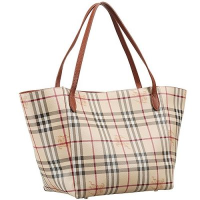 Burberry AAA Female Haymarket Check Tote Bag Brown Leather Handle Shopping