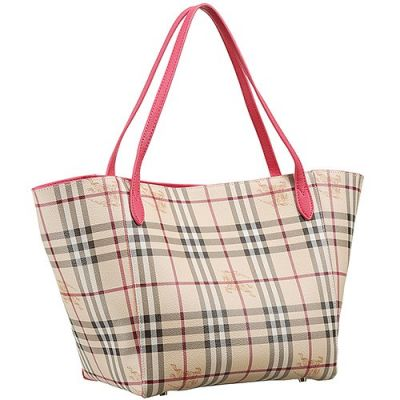 Fake Burberry  Haymarket Check Red Handle Ladies Tote Bag For Sale