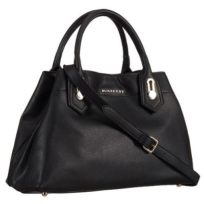 Burberry Milton Quality Black Grained Leather Shoulder Bag Protective Samdwich