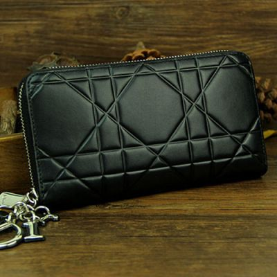 """Dior """"Lady Dior"""" Black Leather Silver Zip Around Escapade Wallet For Womens Price List"""