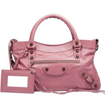 Balenciaga Rose Gold Studs Ladies First 33 CM Classic Pink Leather Tassel Totes For Sale