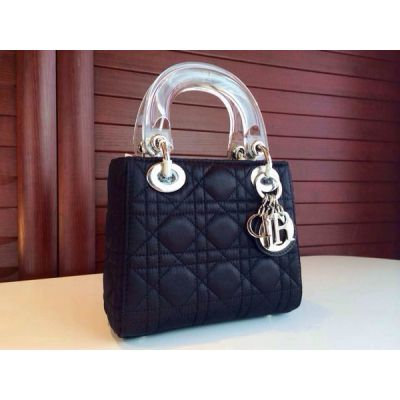 "Mini Cannage Leather Dior ""Lady Dior"" Black Crossbody Bag Fashion Transparent Top Handle Silver Hardware"