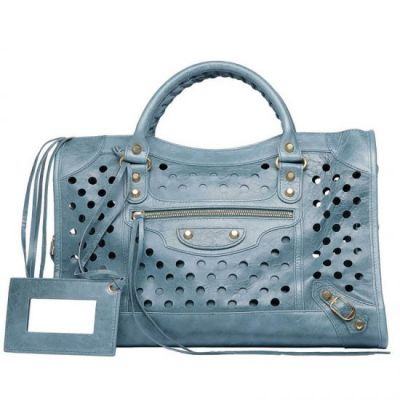 Balenciaga Classic City Polka Big Dots Yellow Brass Studs Tempete Leather Totes Hand Mirror