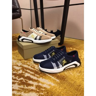 Men's Retro Burberry Gold Logo Embroidery Detail House Check & Leather Low-top Sneakers Blue/Gray