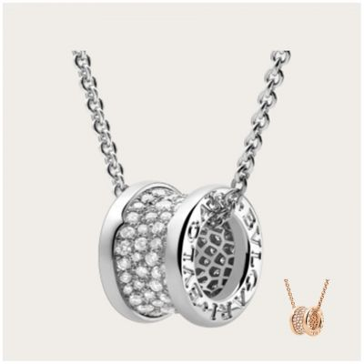 Bvlgari B.zero1 Pave Diamonds Pendant With Chain Necklace Rose Gold/ White Gold Lady Valentine Gift 348035 CL856300/ 346167 CL855800
