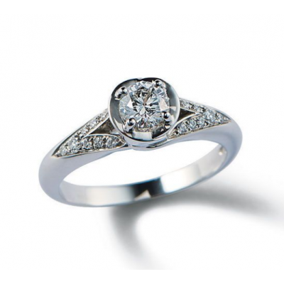 Engagement Ring Bvlgari Incontro d'Amore AN857705 Diamonds Prong Setting Silver Plated Women Fashion Jewelry