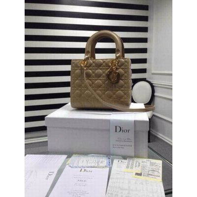 Hot Selling Lady Dior Top Handle Tan Cannage Leather Default Crossbody Bag Golden D.I.O.R Charm