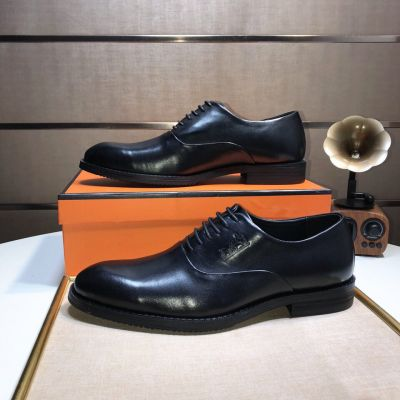 Fashion Trends Hermes Logo Printing Mens Black Leather Lace-up Clone Derby Shoe For Sale