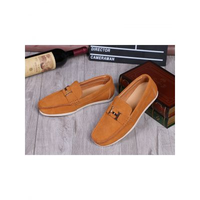 """Hermes White Rubber Outsole Mens High Quality Suede Leather Clone Mocassins & Loafers With """"H"""" Detail"""