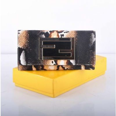 Fendi Double F Golden Buckle White Horsehair Leather Many Card Slots Ladies Long Tri-fold  Wallet