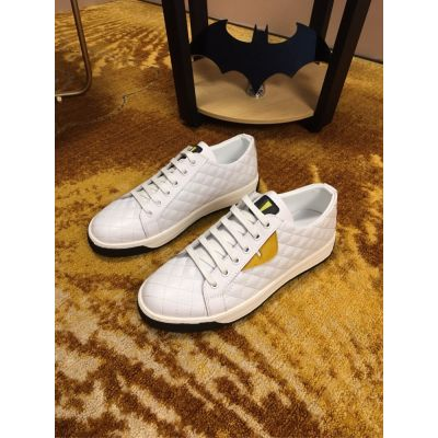 Low Price Fendi Mens Yellow Leather Details Low-tops Lace-up Sneakers White/Black For Outdoors