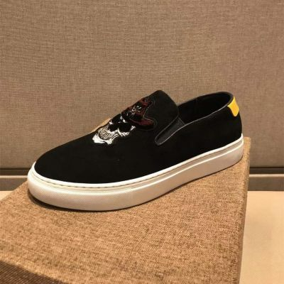 Replica 2021 New Retro Black Suede Leather White Rubber Mens Skull Head Classic Loafers For Sale Online