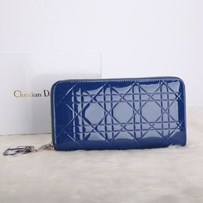 """Fake Hot Selling Dior """"Lady Dior"""" Blue Patent Leather Cannage Escapade Long Zipper Wallet"""