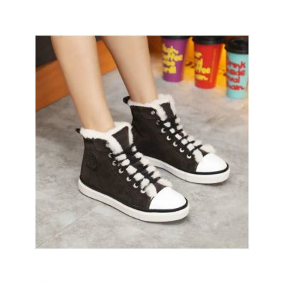 Hermes Jimmy Sport Style Stamp Trimming Ladies Suede Leather Lace-up Boots Black/Brown With Wool Lining H152169Z A2360