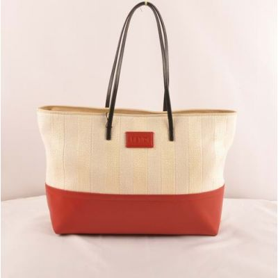 Latest Fendi Red Leather With Beige Striped Linen Slim Handle Zipper Totes For Womens Replica
