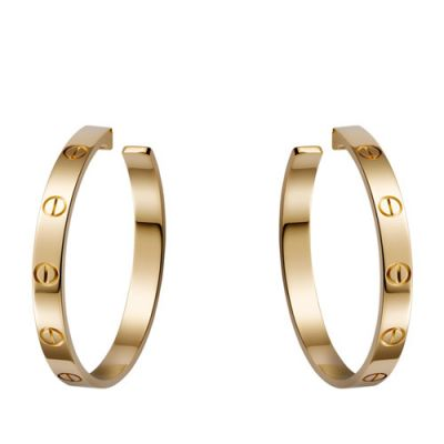 Cartier Love Classic Screw Motif Female Big Circle Yellow Gold Pierced Earrings B8028200 Replica