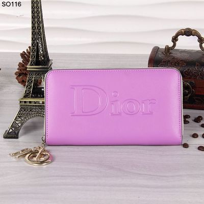 Timeless Pieces Dior Purple Zip Around Leather Wallet Gold Plated D.I.O.R Charm 12 Card Slots