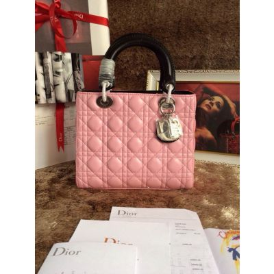 "Pink Canange Dior Leather Totes Black Handle & Strap ""Lady Dior"" Handbag Silver Zipper For Sale"