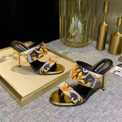 Versace Hot Selling Female Fashion Printing 10CM Golden High Heel Best Quality Cow Leather Sandals Online