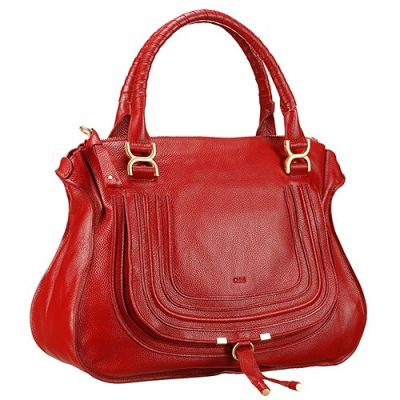 Women's Sexy Dark Red Soft Leather Chloe Marcie Tote Bag Gold Hardware
