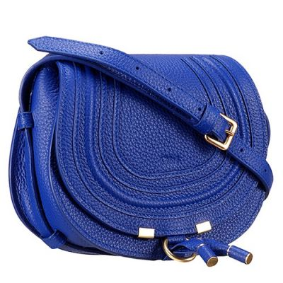 Chloe Marcie Small Blue Grained Leather Womens Shoulder Bag Flap Replica