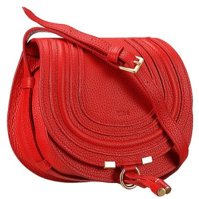 Chloe Marcie Elegant Style Red Leather Flap Bag Adjustable Shoulder Strap