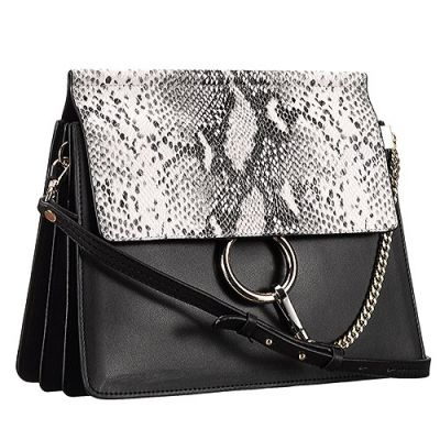 Chloe Faye Black Smooth Leather Silver Ring & Chain Python Flap Bag 3S1126-H2O-001