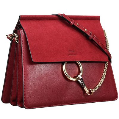 2017 Red Leather Chloe 3S1231-H2O-BEC Faye Female Handbag Double Path Pocket Suede