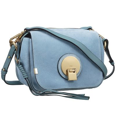 Chloe Indy Womens Blue Leather Clone Camera Bag Yellow Brass Buckle